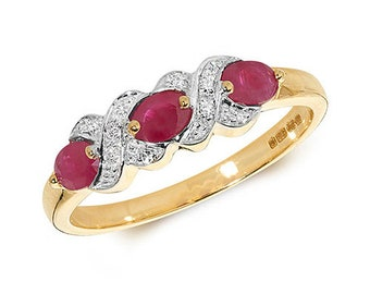 9ct Yellow Gold Ruby Lover's Kisses Diamond Set Ring, Sizes J to Q