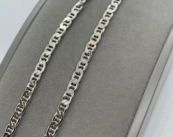 """Sterling Silver 4mm Solid Anchor Link 20"""", 22"""", 24"""" Chain (s100ac)"""