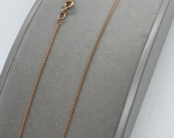 9ct Rose Red Gold 1.1mm Curb Link Neck Chain (R12C)