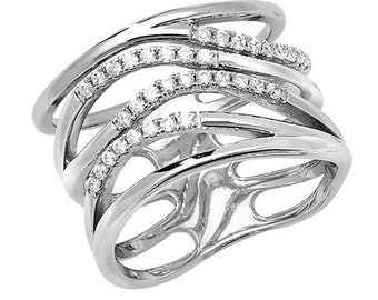 Sterling Silver Multi Strand Wide Cubic Zirconia Set Ring, Size N