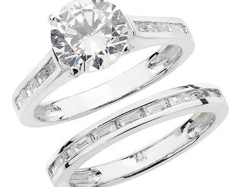 Sterling Silver Set of 2 Cubic Zirconia Rings, Size N, Solitaire and Eternity Band