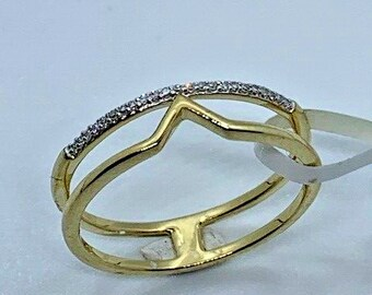 9ct Yellow Gold 0.04ct Diamond Fancy Band Ring, Size O