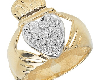 9ct Yellow Gold Claddagh Ring with Cubic Zirconias, Ring size Z. SPECIAL PRICE