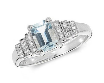 9ct White Gold Aquamarine and Diamond Tiered Step Style Ring, Sizes J to Q