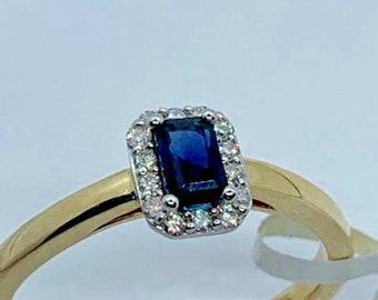9ct Yellow Gold NEW Natural Sapphire & Diamond Cluster Ring, Size O