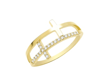 9ct Yellow Gold Cubic Zirconia Double Cross Ring, Sizes K to Q (1653)