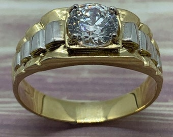 9ct Yellow Gold Cubic Zirconia Watchband Style Design Ring (152)