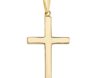 9ct Yellow Gold Solid 38x18mm Plain Cross Pendant - Chains available