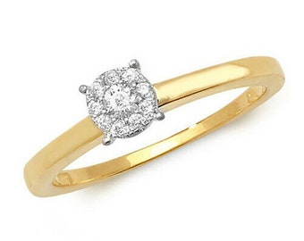 9ct Yellow Gold 0.15ct Natural Round Diamond Cluster Ring, Size O  (rd545)