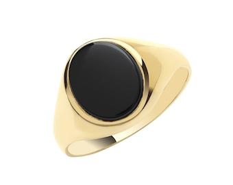 9ct Yellow Gold Men's / Boys Oval Black Onyx Plain Sides Signet Ring
