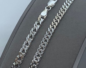 """Sterling Silver 5.5mm Double Curb Chain 20"""" / 50cm Neck Chain (1019)"""