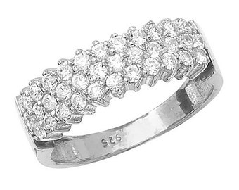 Sterling Silver MultiRow Set Cluster Cubic Zirconia Ring, Size O