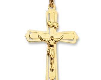 9ct Yellow Gold Solid 53x33mm Fancy Crucifix Cross Pendant