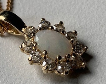 """9ct Yellow Gold Opal and Zirconia Cluster Pendant and 18"""" Chain"""