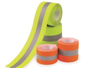 """2"""" Sew on Reflective tape - High Visibility Hi Vis - Colored - Lime / Silver and Orange / Silver"""