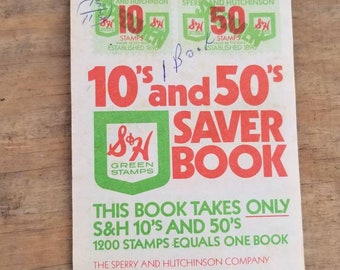 S & H Green Saver Stamps Book -Collectible Vintage Paper