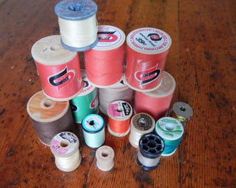 Vintage Thread, Instant Collection, Wooden sewing spools