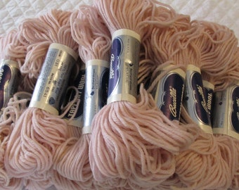 Bucilla Tapestry Wool - Light Pink - Lot of Eighteen (18) 40 yard skeins - same dye lot