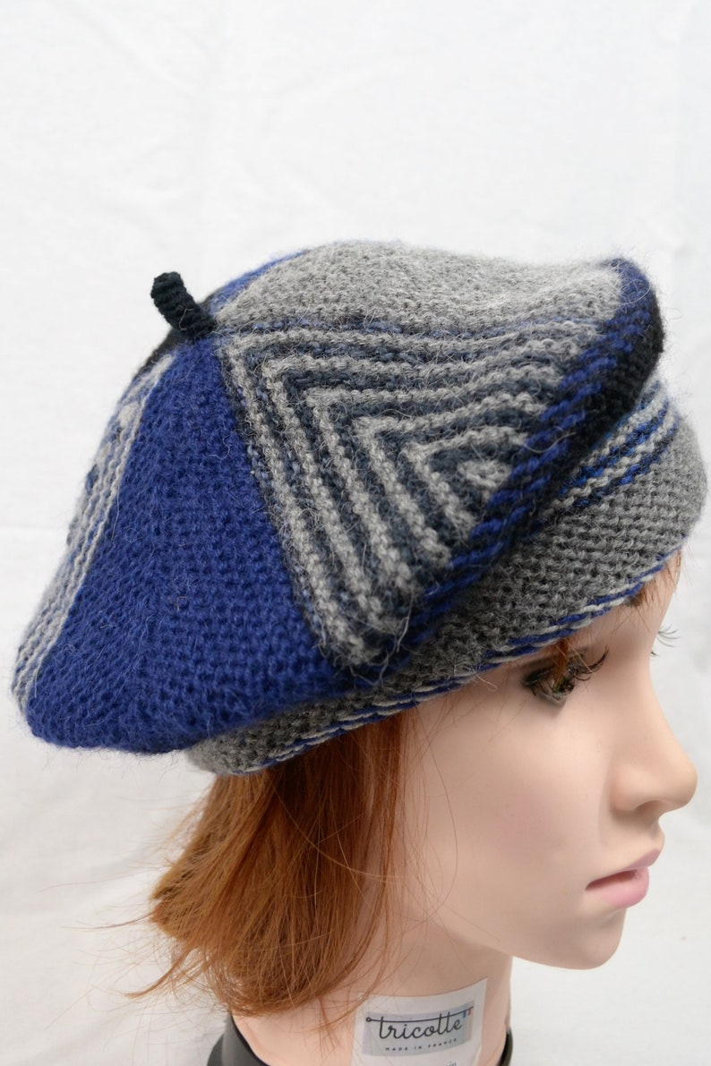 f322c8cb6b685 Hat shape beret-knitted blue and grey wool alpaca