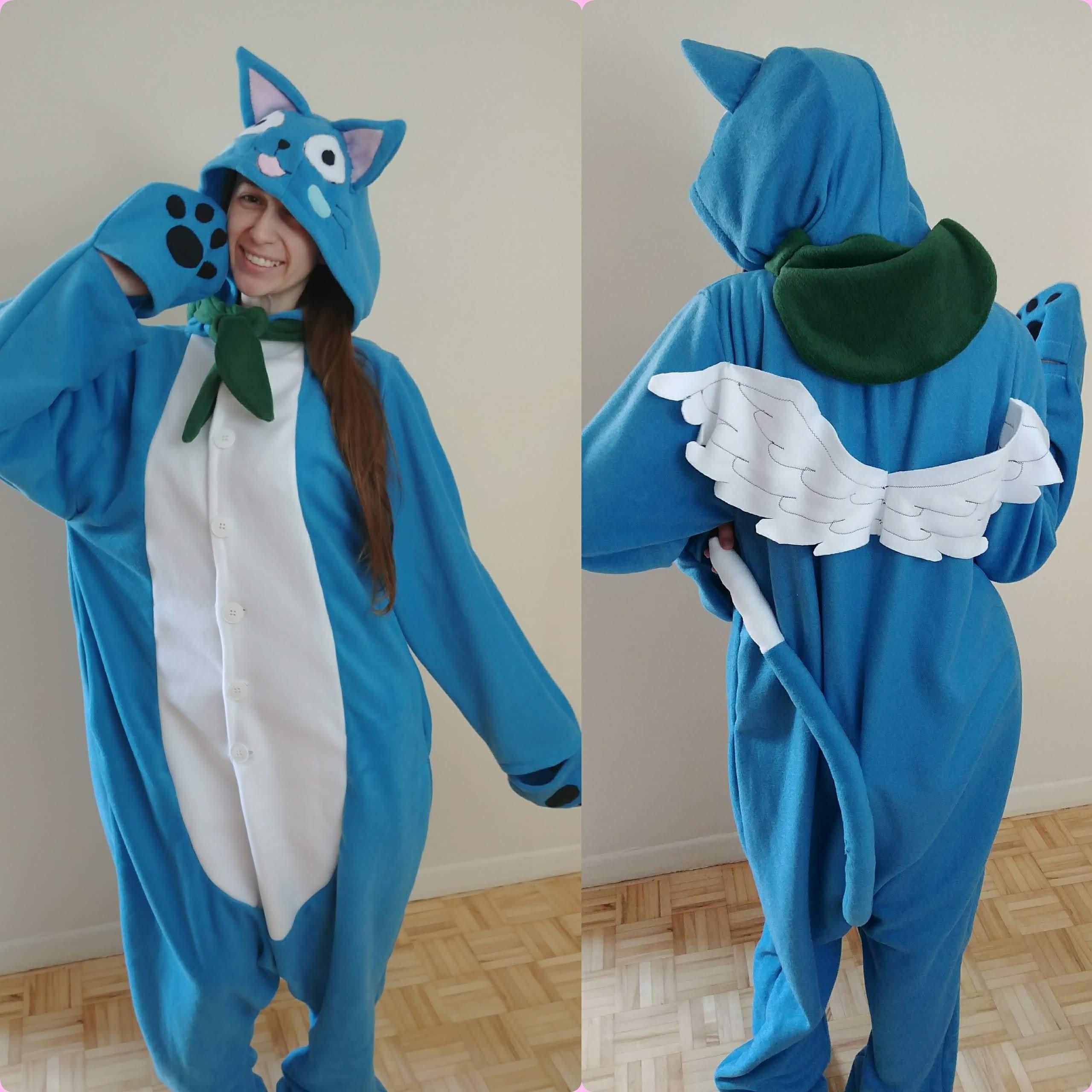232348560e77 Happy Inspired Fairy Tail Custom Made Kigurumi   Onesie