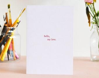 Hello, My Love minimal greetings card