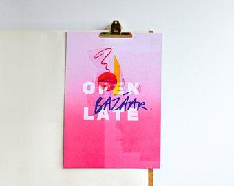 Bazaar collage typography graphic art print