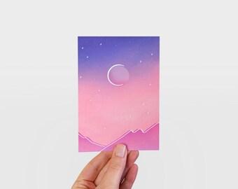 Desert Moon illustrated postcard print