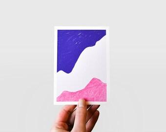 Abstract art illustrated postcard print