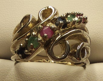 Unique Emerald, Sapphire and Ruby Ring