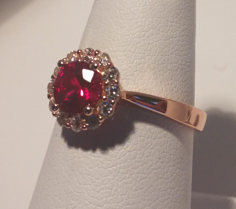 Ruby and Zircon Ring in 925 Silver
