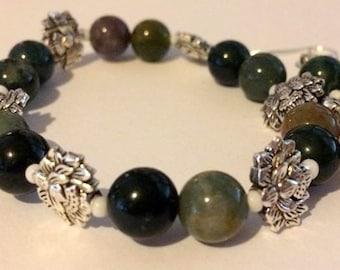 Lotus Flower and Indian Agate Bracelet and earring set, Handmade jewelry set, OOAK, Unique jewelry, Stretch bracelet set, dangle earrings