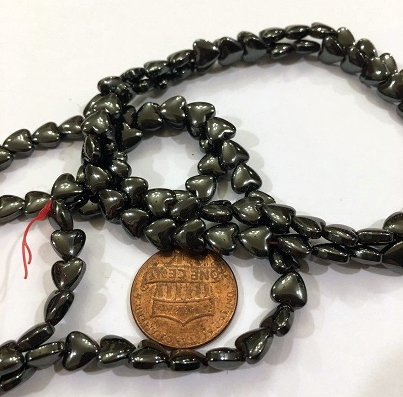 6mm heart beads Magnetic Hematite Heart beads delicate heart bead DIY jewelry supply craft supply Pain relief bead BOHO jewelry supply