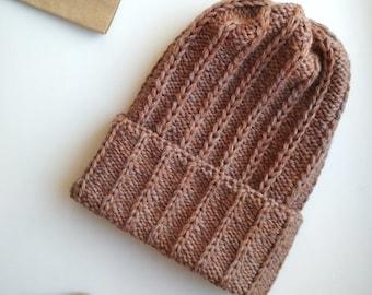 Warm knitted hat Tweed hat Brown knit hat Custom knit hat Brown wool beanie Spring beanie Brown beanie Virgin wool hat Cold weather hat