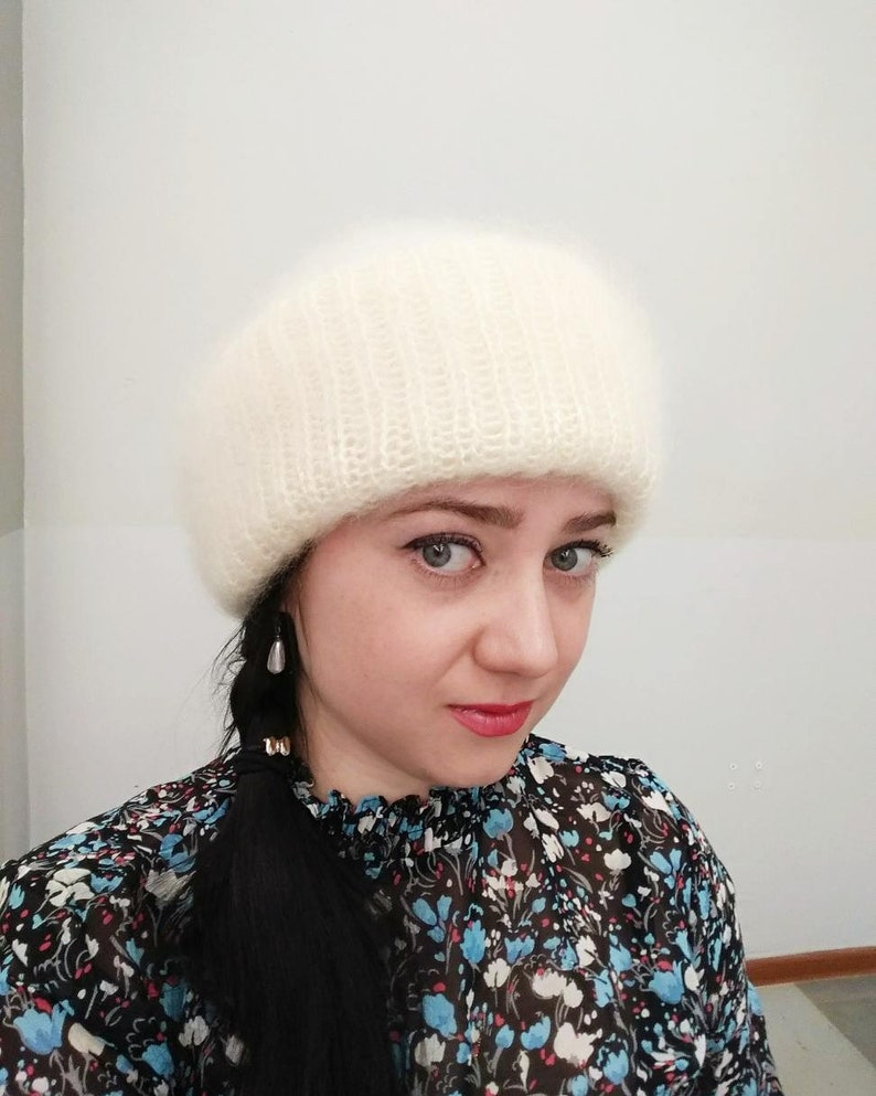 86de6c0d0 Chunky knit hat Teen girl hat Oversized winter hat Adult winter hat  Handknit hat Soviet hat Russian hat Knitted white hat Russian fur hat