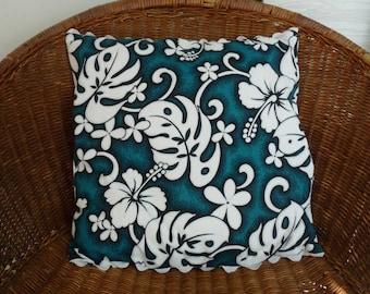 Cushion Cover, hawaiian fabric,retro, ric rac trim, 45cm x 45cm closing down sale