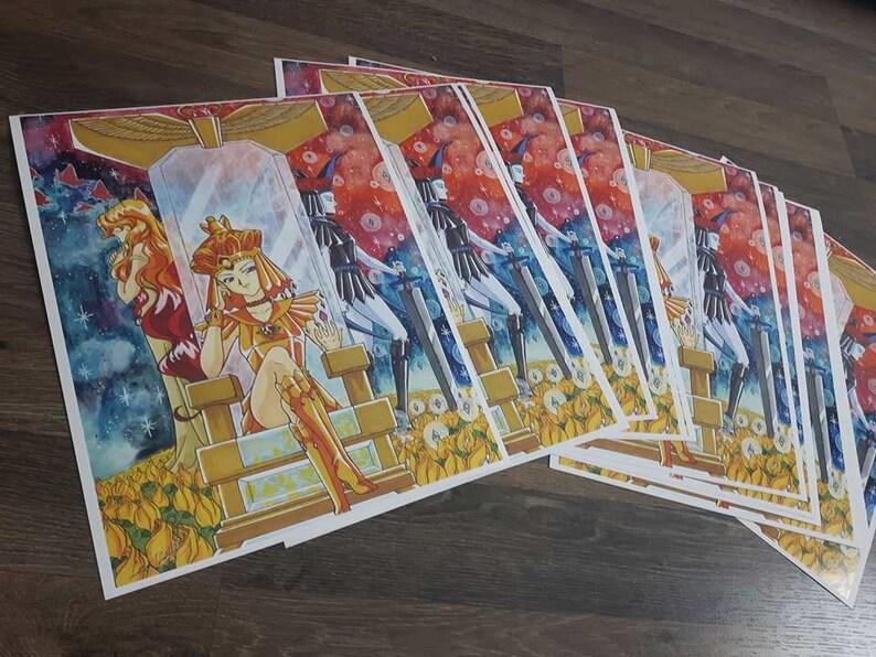 The 3 Faces of Galaxia Print 8 5x11 Sailor Galaxia, Chaos Cardstock Paper  Crescent Lion Art