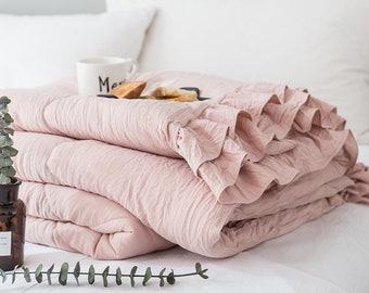 Shabby chic Ruffle Cotton Quilt For Bed Modern Design Queen Double Bedding Comforters Baby Blanket Duvet For Bedroom Solid Color Quilt Cover
