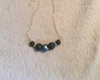 Essential oil/ aromatherapy Tahitian pearl and lava bead necklace