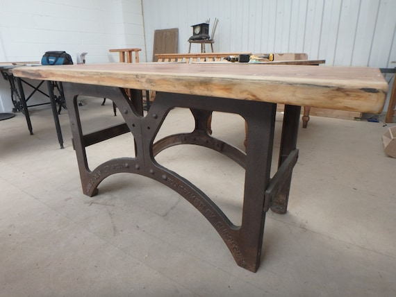 Desk With Antique Industrial Cast Iron Base And Redwood Top