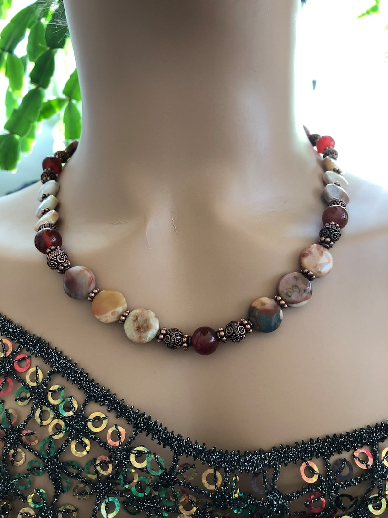 Lace Agate with Carnelian and Copper Necklace Set