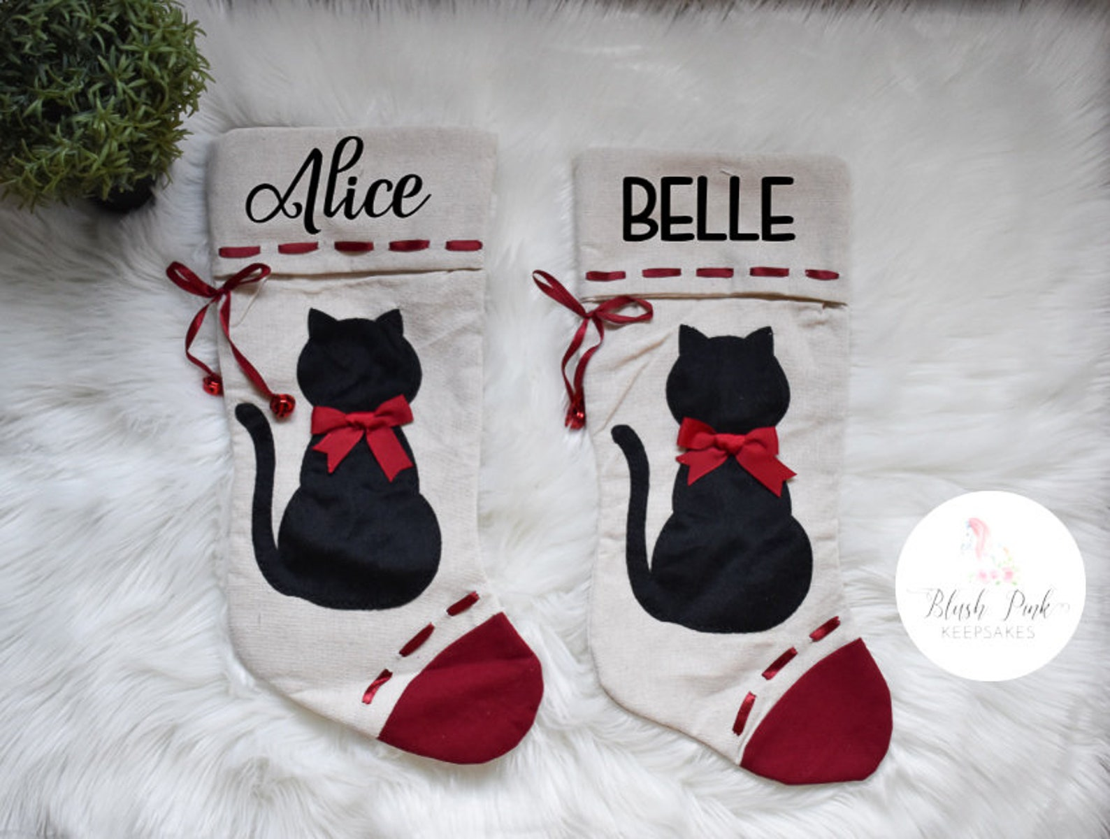 Personalized Cat Silhouette Canvas Christmas Stocking