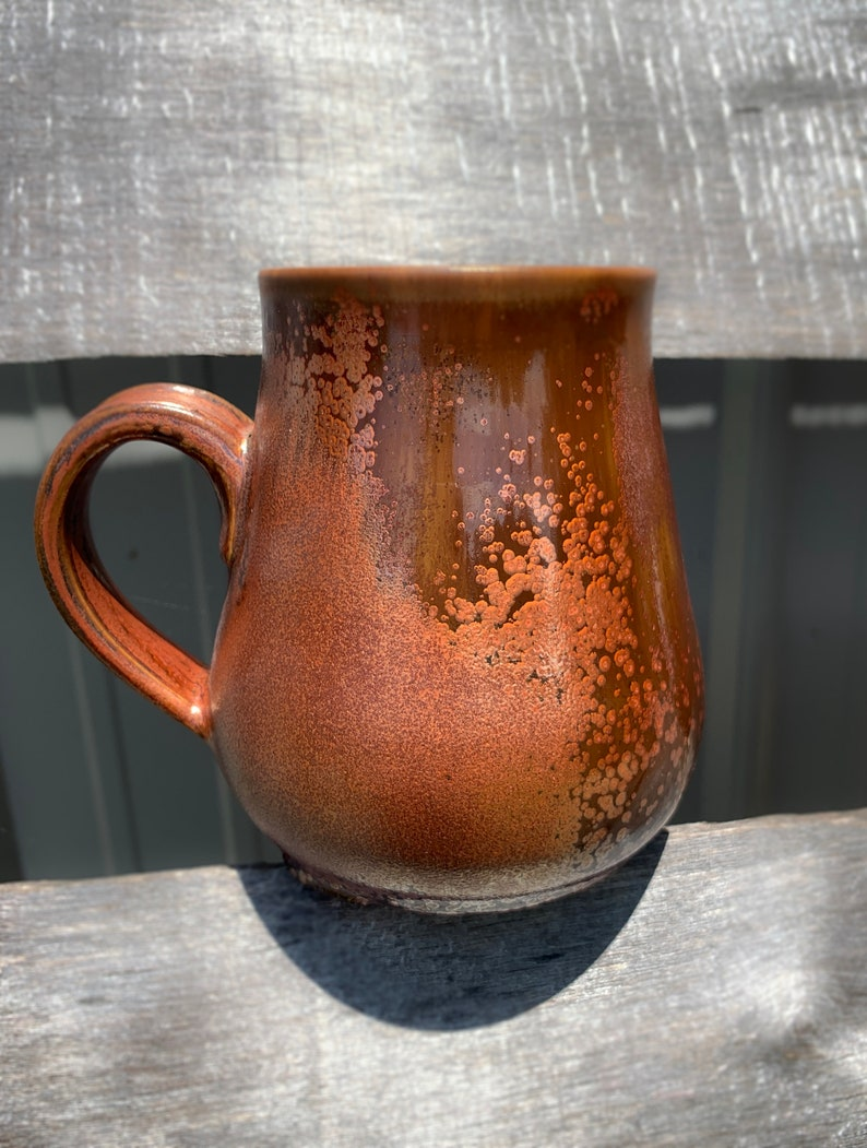 Ceramics /& Pottery Colorful Clay Plant Road 16oz Copper Rose Gold Amber Mug Handmade Coffee Tea Cup Homemade Gift Present