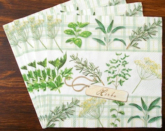 Herbs green Luncheon Paper Table Napkins 20 in a pack 33cm square