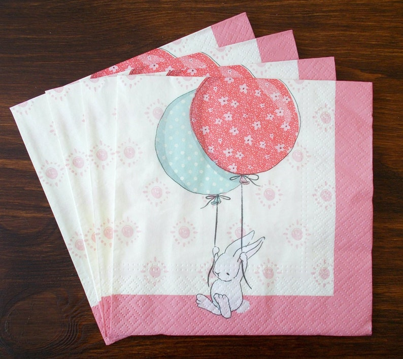Set 4 Easter rabbit with balloons paper napkins size 33cm x 33cm for Decoupage Design Scrapbooking Decor Creating collages
