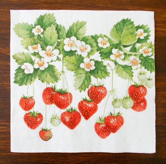 4 x paper napkins for decoupage Strawberries design crafts scrapbooks