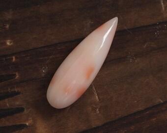 Undyed natural deep sea coral pear shape both sides reddish color