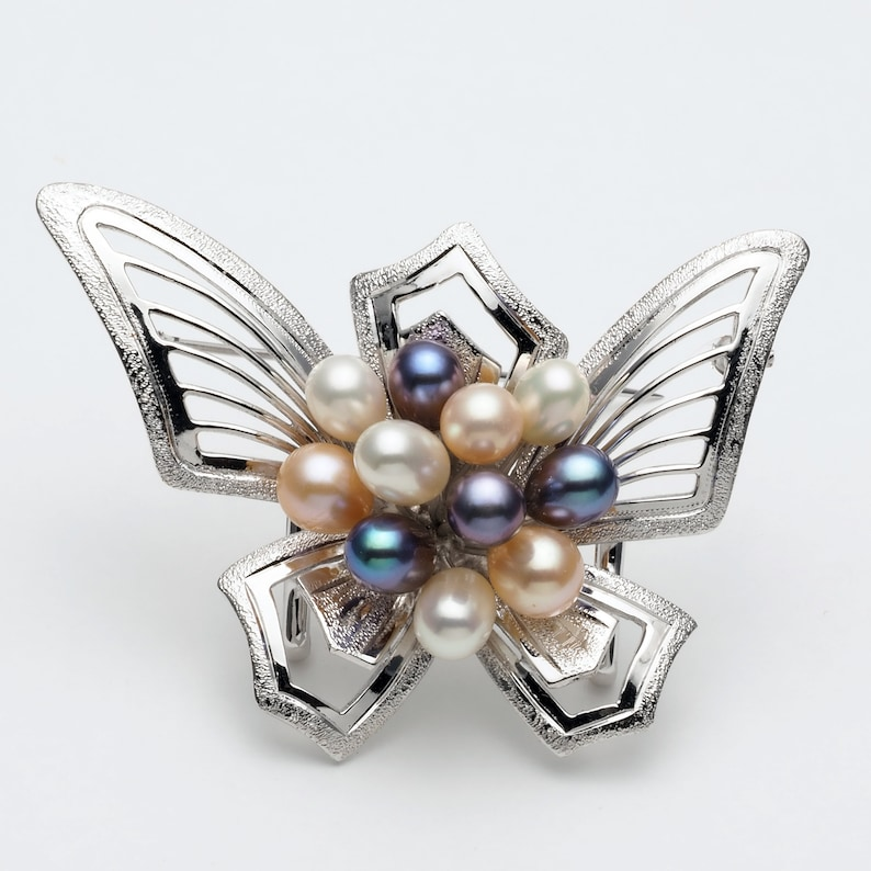 One of a Kind Also Used as Sash Clip Sterling Silver Fresh Water Pearls Butterfly Brooch