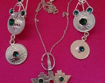 Earring orelle + necklace with sterling silver pure + gift