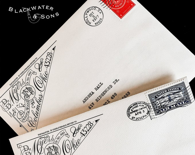 Featured listing image: Custom 'Diamant' Return Address Label or Rubber Stamp – Digital, Graphic, Design, Envelope, Detailed, Ornate, Victorian, Wedding, Snailmail