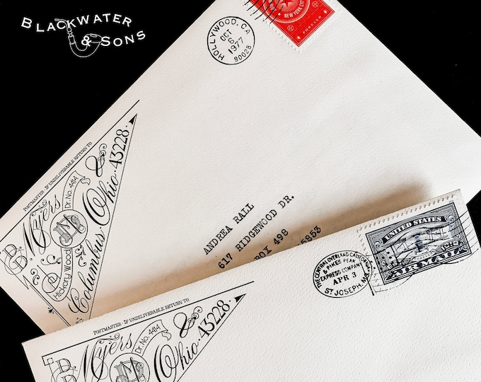 Featured listing image: Custom 'Diamant' Return Address Label or Rubber Stamp – Digital, Graphic, Design, Envelope, Detailed, Ornate, Victorian, Wedding, Snailmail